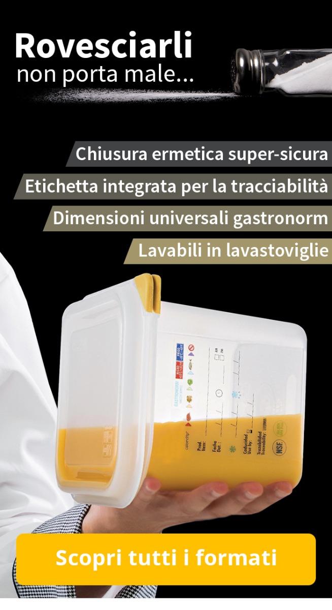 Contenitori ermetic: chiusura ermetica super-sicura, etichetta integrata per la tracciabilità, lavabili in lavastoviglie.